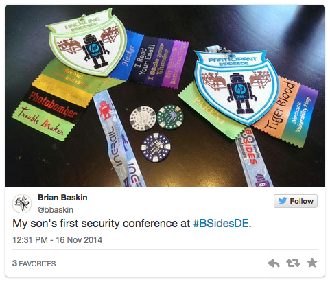 My son's first security conference at #BSidesDE.