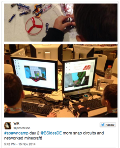 @jaimefilson #spawncamp day 2 @BSidesDE more snap circuits and networked minecraft!