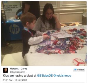 Kids are having a blast at @BSidesDE @heidishmoo